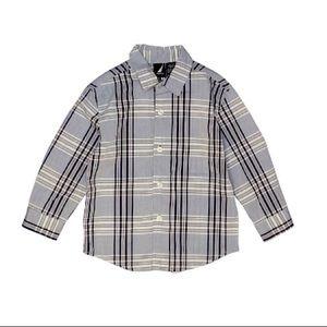 Nautica | Button Down Shirt Boy 3T Plaid Gray